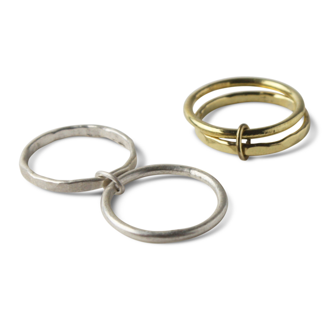 Double Loops Ring Brass