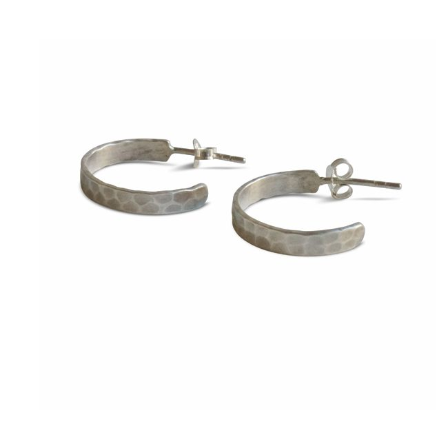 Hammered Hoops Silver